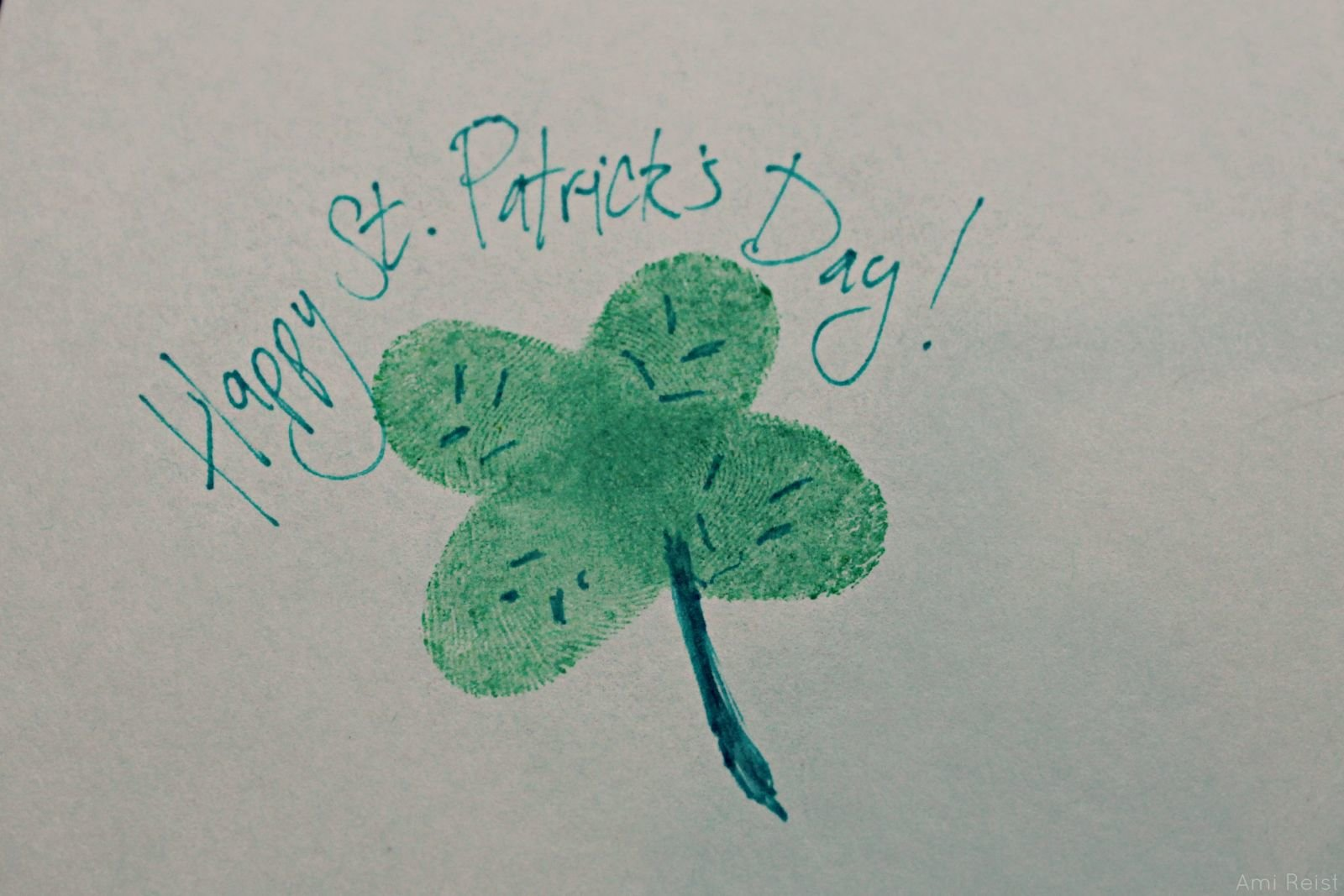 Fingerprint Shamrock St Patricks Day DIY