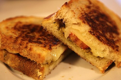 Pesto Tomato Grilled Cheese Sandwich by Emily McKenna