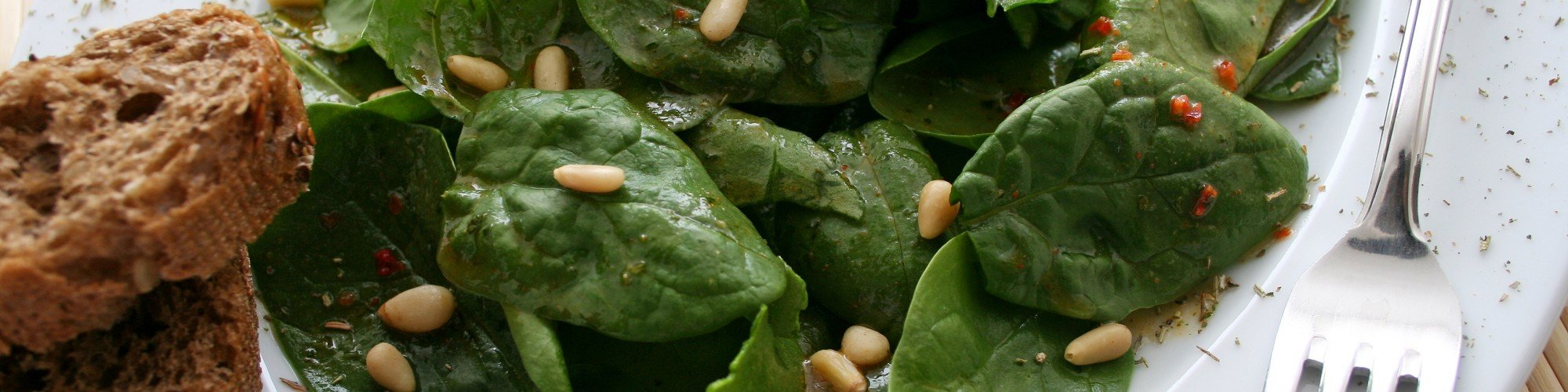 Spinach and Basil Salad with Pine Nut Dressing Recipe by Vicki Barrett