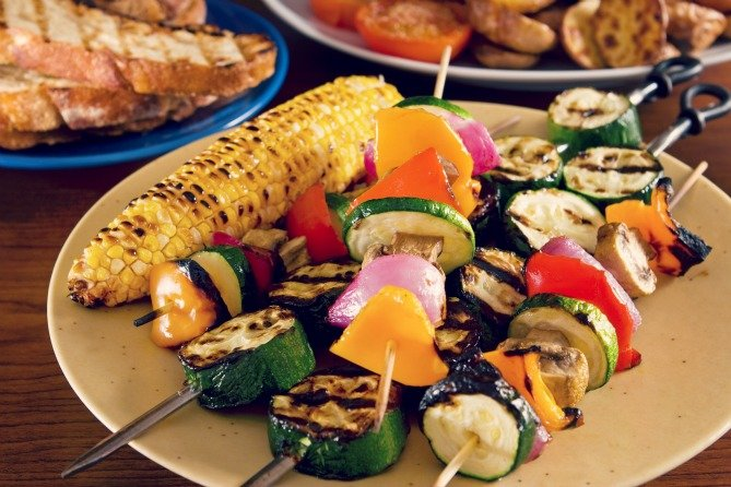 Grilled Vegetable Kabobs with Corn