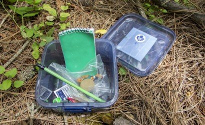 Geocache Open in the Woods Revealing Notebook, Pencil, Trinkets
