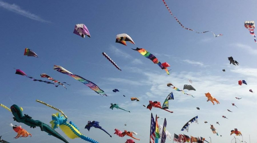 large and small kites flowing on the beach during a kite festival