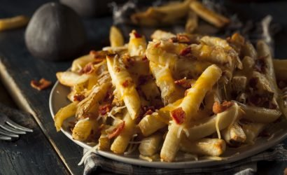 Coastal Delaware Restaurant Week bacon cheese fries in bowl