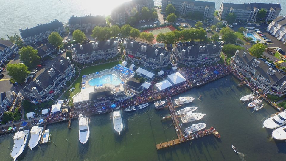 Aerial of Harbour Island where the White Marlin Open in Ocean City is held with boats docked