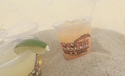 drinks in the sand on the beach at coconuts is one of 7 local favorites in ocean city