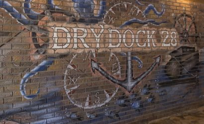 the new dry dock 28 painted on a brick wall in Ocean City MD