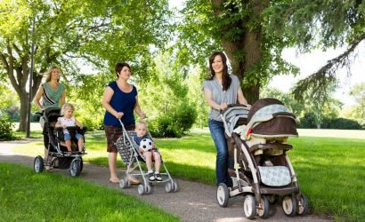 moms with strollers in park on walking trails on delmarva
