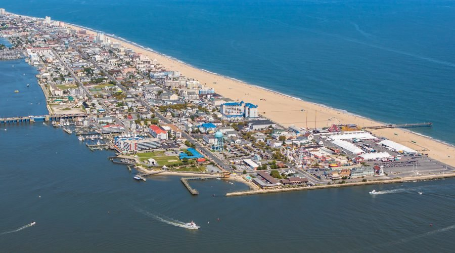 aerial view of town showing things to do in ocean city