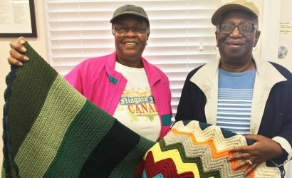 Fay Jarmon and Carolyn Fassett donated blankets for hospice patients at Coastal Hospice Racetrack Rd. office in October