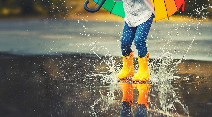 girl in yellow rain boots splashing in rain