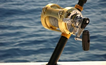 Gold Reel Fishing Rod in Ocean