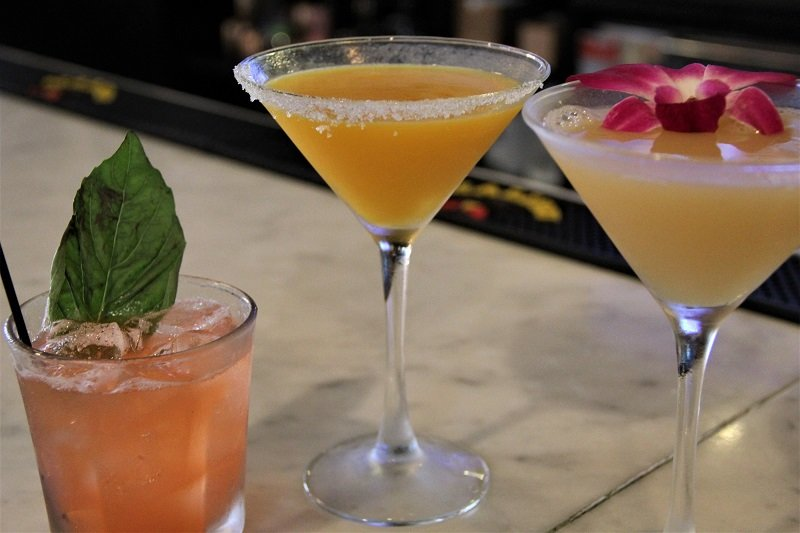 martini and alcoholic drinks with garnishes