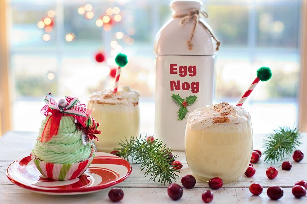 egg nog and holiday drinks