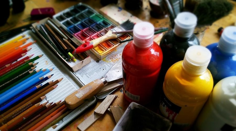 paint supplies and brushes