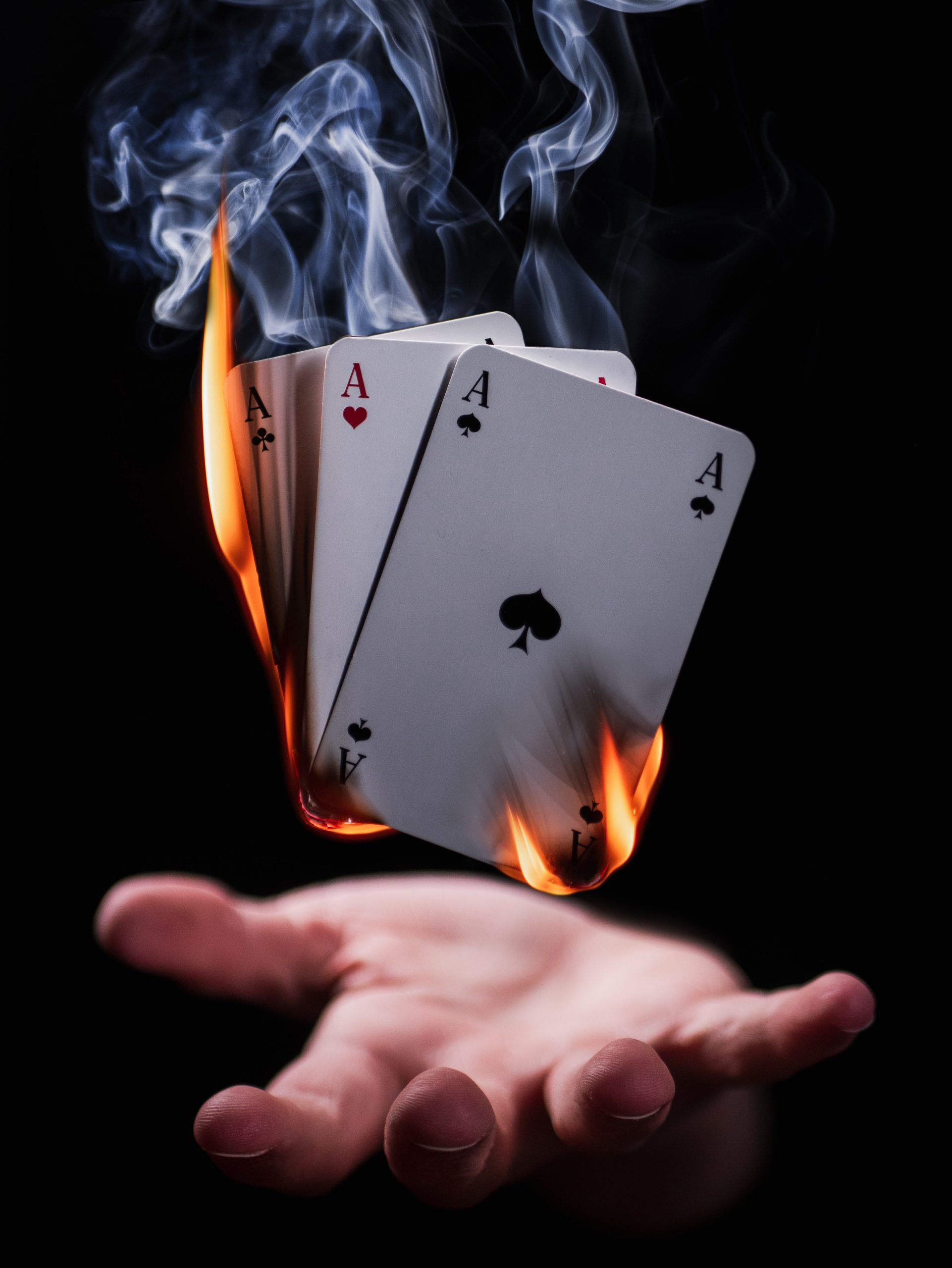 card deck on fire