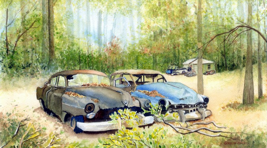 A painting of old cars by Gerilyn Gaskill